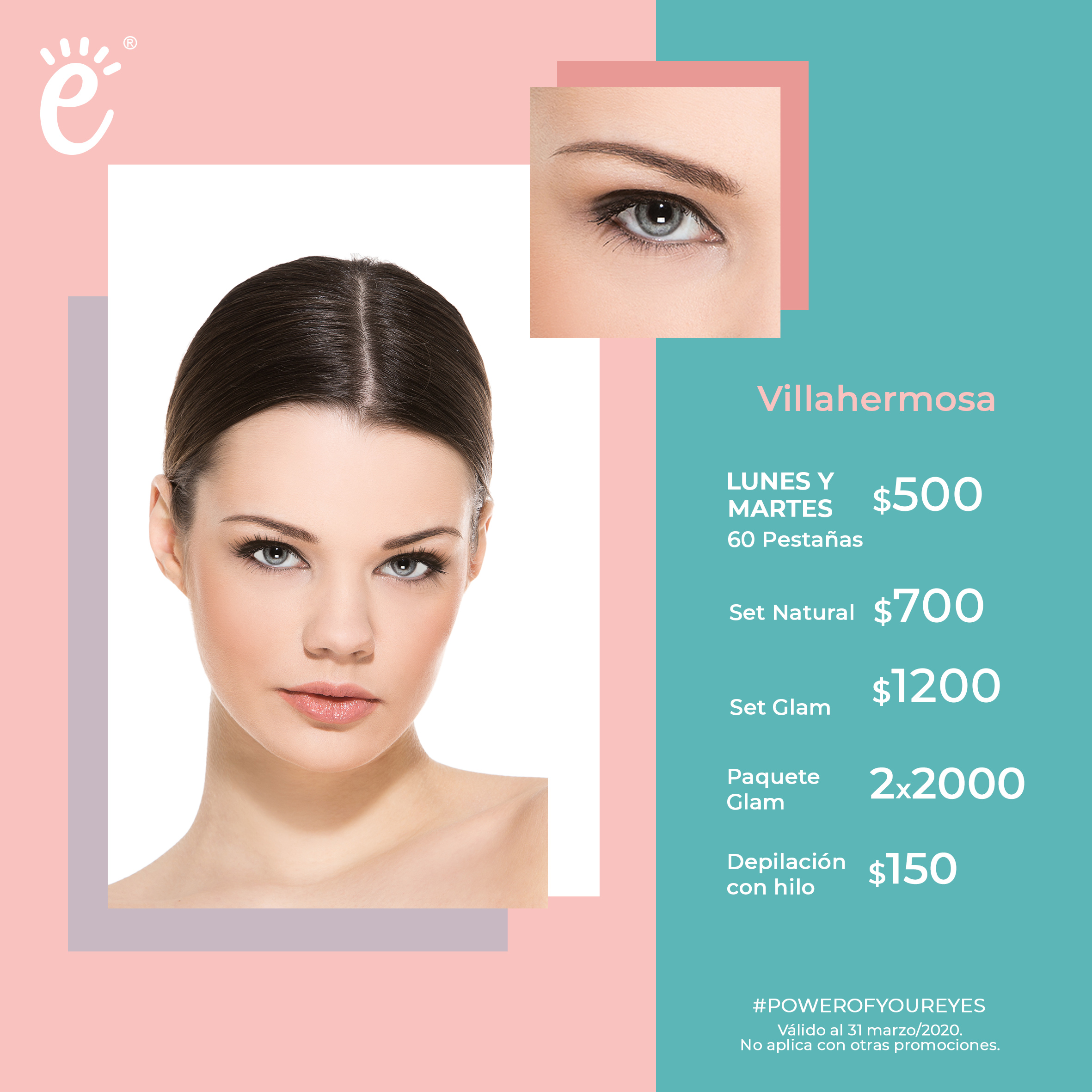 Lunes y Martes: 60 pestañas $500, Full Set Natural  $700; Full Set Glam 1,200; ó Paquete Glam 2x2000